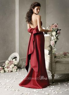 scarlet taffeta strapless gathered bodice sweetheart neck bridesmaid dress