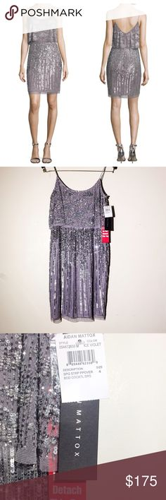 """Aidan Mattox NYE sequin Cocktail dress small 4 NWT Perfect for New Years Eve! 🍾 Embellished Popover cocktail dress in Ice violet. Size 4, translates to a small. All measurements are taken laying flat; chest-16"""", waist-13.5"""", length-35"""".  Feel free to make a reasonable offer💕 Aidan Mattox Dresses Mini"""