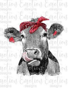 Sublimation transfer, cow with bandana printed sublimation/chromablast cotton transfer, printed and ready to press transfer, Cow Clipart, Cow Painting, Chicken Painting, Cute Captions, Cowlick, Cute Cows, Cow Art, Emotion, Buffy