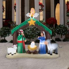 inflatable nativity scene 6 ft santa christmas holiday outdoor lawn decoration - Inflatable Christmas Lawn Decorations