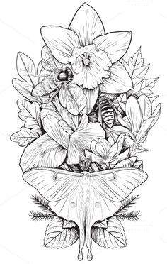 Flowers and Insects by BusOne on Creative Market is part of Flower tattoos - Illustration Botanique, Illustration Art, Mantis Tattoo, 1 Tattoo, Art Tattoos, Insect Tattoo, Desenho Tattoo, Trendy Tattoos, Flower Tattoos