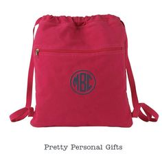 Monogrammed Cinch Sack -  Personalized Canvas Drawstring Bag in 7 colors by PrettyPersonalGifts on Etsy https://www.etsy.com/listing/164703650/monogrammed-cinch-sack-personalized