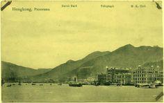 Scarcest c1905 HONG KONG Panorama Naval Yard Telegraph by UCRONIA