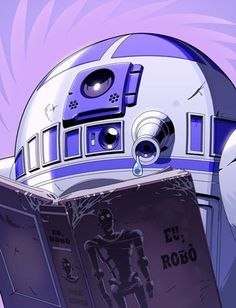 R2D2 reads a sad story...a robotical tragedy that really speaks to him (it?).