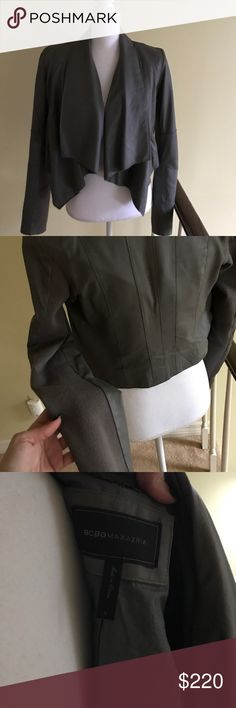 BCBGMax stone grey draped leather jacket Great jacket to have in spring wardrobe. Excellent condition BCBGMaxAzria Jackets & Coats