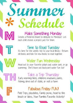 How to have a Fun Summer: weekly schedule for Las Vegas, Henderson, North Las Vegas and all of southern Nevada. Recommended by Jill Paige Homes, Las Vegas, NV. fun Tons of Summer Activities for Kids - Joyfully Prudent Summer Activities For Kids, Family Activities, Toddler Activities, Indoor Activities, Camping Activities, Preschool Family, Preschool Age, Preschool Lessons, Preschool Learning
