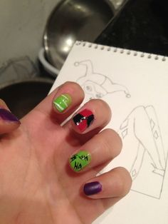 Joker/ Harley Quinn nails