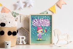 "I'll Be My Own Superhero! Motivational Art Print for Girls - 8x10"" Pussyhat Girl Creative Gifts, Creative Ideas, You Are My Superhero, Shabby Chic Frames, Newborn Headbands, Baby Girl Gifts, Handmade Items, Handmade Gifts, Baby Bows"