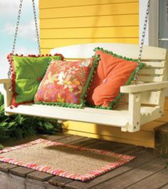 Outdoor Pillows and Rug > Creative Home Arts Club Yellow Cottage, Color Of The Day, Porch Swing, Front Porch, Outdoor Furniture, Outdoor Decor, Outdoor Ideas, Backyard Ideas, Creative Home