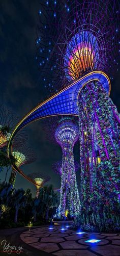 'Lighted Tree' - Garden by the Bay Marina Bay Sands Singapore by Yevgen Nelson Ng