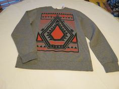 Men's Volcom stone surf skate brand long sleeve sweat shirt S grey heather NWT #Volcomstone #longsleeve