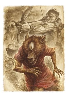 Psoglav is a demonic humanoid beast in the Serbian folklore.    Psoglav was described as having a human body with horse legs, and dog's head with iron teeth and a single eye on the forehead....    Psoglavs are described to live in caves, or in a dark land, which has plenty of gemstones, but no sun.    They practice anthropophagy, by eating people, or even digging out corpses from graves to eat them...