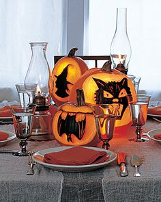 Pumpkin Carving and Decorating Ideas  Spooky Silhouette Designs  An ink-coated silhouette is a sophisticated variation on pumpkin carving.
