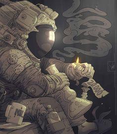 "rexisky: "" Spaceman by Pancho Vásquez "" (ノ◕ヮ◕)ノ*:・゚✧: http://panchusfenix.deviantart.com/"