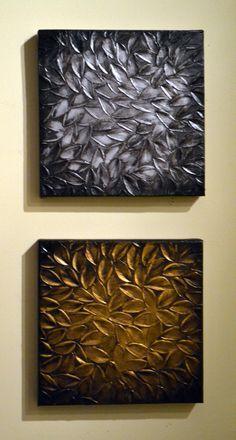 Original Modern Home Decor Sculpture 10x20 Textured Silver Gold Leaves Painting Abstract 3D Palette Knife Art