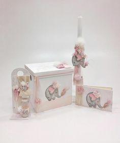 βαπτιστικό κουτί με θέμα το ελεφαντάκι ,με λαμπάδα ,λαδοσέτ και βιβλίο ευχών