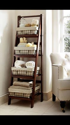 "Storage ""Ladder"" for the Washroom - With a Gorgeous White Chair!"
