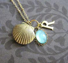 Shell Locket Necklace Personalized Bridesmaids Locket Initials Customized Gift Gold Locket Wedding Mermaid Sea Side Beach Ocean Summer - by JEWELSALEM