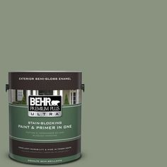 BEHR Premium Plus Ultra 1-gal. #N390-5 Eucalyptus Wreath Semi-Gloss Enamel Exterior Paint