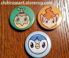 Gen 4 Starters Pinback Button Set by ChibiRoseArt.deviantart.com on @deviantart   On sale in my storenvy shop! Link is in my bio~