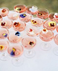 Wedding Food 25 Sweet Garden Bridal Shower Ideas To Try: serve drinks with edible flowers or flower petals Camp Wedding, Wedding Day, Drinks Wedding, Wedding Catering, Bridal Shower Drinks, Bridal Shower Flowers, Brunch Wedding Receptions, Wedding Ceremony, Cocktail Wedding Reception