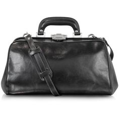 Chiarugi Briefcases Black Leather Handmade Professional Doctor Bag ($495) ❤ liked on Polyvore featuring bags, briefcases, black and travel & business