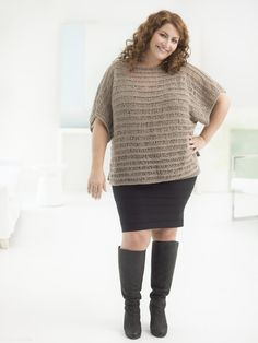 Curvy Girl Drop Stitch Pullover. Knit this flattering plus size pullover with 5 balls of Vanna's Glamour! Pattern calls for size 5 (3.75 mm) 36 inch circular knitting needles.
