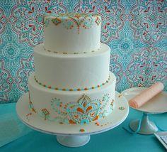 Turquoise & Orange Henna Scroll Work Cake