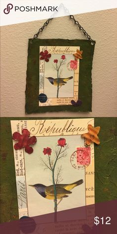 Sweet little bird magnetic frame This cutie is decorative and also you can add what you would like as the flowers are also magnets! Picked up at a cute little boutique. Accessories