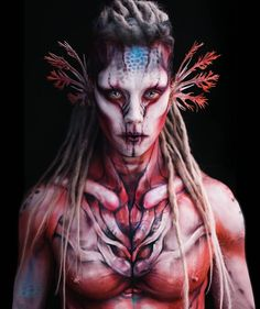 """alien makeup AMPHIBIAN ALIEN - AXOLOTL [Freely inspired by the movie """"Valerian""""] One more pic of the first body painting I did during this amazing Axolotl, Alien Makeup, Fx Makeup, Bodysuit Tattoos, Cosplay, Tattoo Prices, Alien Creatures, Make Up Art, Special Effects Makeup"""