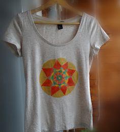 Hand painted women with Mandala yoga Women T shirt  by WearBeauty