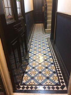 Hall Tiles, Tiled Hallway, Tile Stairs, Hallway Flooring, Modern Hallway, House Stairs, Victorian House Interiors, Edwardian House, Victorian Terrace Hallway