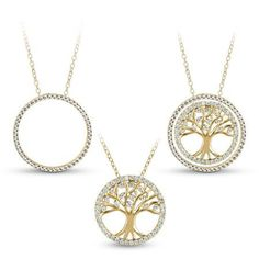 White CZ 18kt Gold over Sterling Silver Family Tree Circle 3-in-1 Interchangeable Necklace, 18 inch, Women's, Size: Small