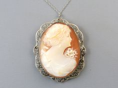 Antique Art Deco 14k white gold filigree cameo pendant necklace by SundayandSunday on Etsy
