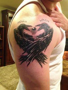 Odin's Ravens - Huginn (thought) & Muninn (Memory) Viking Compass Tattoo, Viking Tattoo Symbol, Norse Tattoo, Viking Tattoo Design, Viking Tattoos, Nordic Symbols, Viking Symbols, Body Tattoos, Sleeve Tattoos