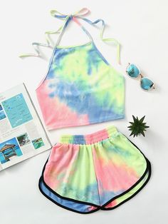 ¡Cómpralo ya!. Halter Neck Water Color Crop Top With Ringer Shorts. Shorts Multi Polyester Tie Dye Halter Sleeveless Sexy Vacation Sports Fabric is very stretchy Summer Two-piece Outfits. , topcorto, croptops, croptop, croptops, croptop, topcrop, topscrops, cropped, topbailarina, corto, camisolacorta, crop, croppedt-shirt, kurzestop, topcorto, topcourt, topcorto, cortos. Top corto  de mujer   de SheIn.