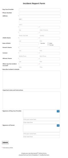 Multi tabs Form for School Admission by Borneosoft Online Forms - medical incident report form
