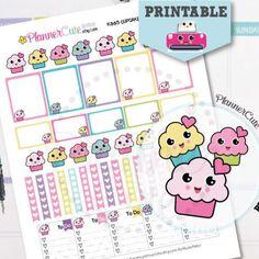 Kawaii Cupcake Stickers,  Kawaii Printable Planner Stickers, Cute Cupcake, Sweet Baking Stickers, Erin Condren, Kawaii Planner Stickers K005