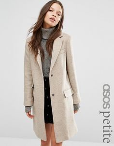 ASOS+PETITE+Wool+Blend+Slim+Coat+With+Pocket+Detail