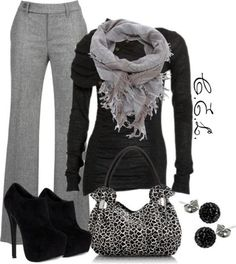 Office Style (Her): Try black and greys this winter! I need this outfit!!! Gray is my color