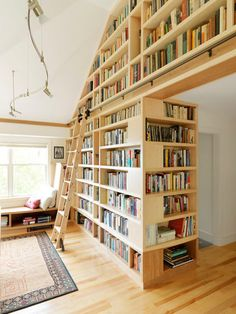 Gorgeous bookshelves and matching library ladder