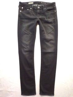 Adriano Goldschmied size 27 Stevie slim straight leg Gray wash Soft Womens jeans #AGAdrianoGoldschmied #SlimSkinnyStraightLeg