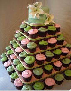 Cupcake tower (what I would rather have instead of a giant cake)