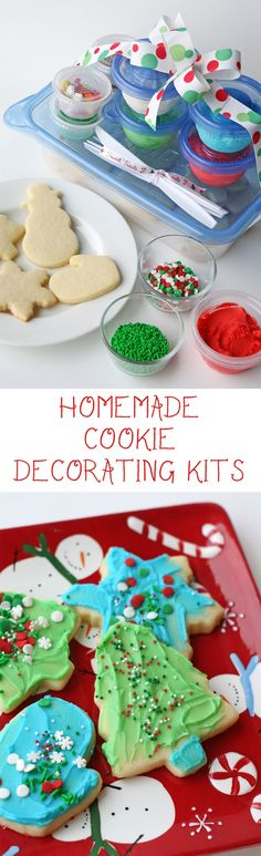 Homemade Cookie Decorating Kits - A great gift for families with kids!  Recipes for the perfect cut-out sugar cookies and simple butter frosting.