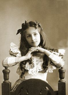 """Natalie"" - 1900 - (Via)..Pretty young girl with a gorgeous dress and long hair....no extentions here"
