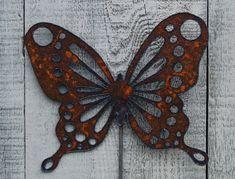 Butterfly Garden Stake Rusty Metal Art Garden by FoothillMetalArt