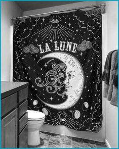 Tarot Moon Shower Curtain -A beautiful shower curtain can change the way your whole bathroom looks like! Choose this one for a dark occult atmosphere! Black Curtains, Diy Curtains, Fabric Shower Curtains, Dark Home Decor, Goth Home Decor, Creation Couture, Gothic House, Occult, Creations