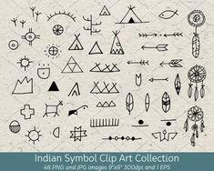 Hand Drawn Doodle Native American Indian Symbol Clip Art, Arrows, Dreamcatcher, Tribal Decorative De Apache Native American, Native American Quotes, Native American Symbols, Native American Crafts, American Indian Art, Native American History, Early American, Native Symbols, Map Symbols