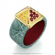 GIZA | Designer Leather Ring with Yellow Sapphire and Pink Sapphire in Crocodile Leather Turquoise and Supersoft Inside Leather Red