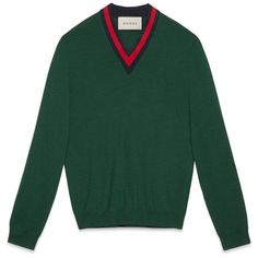 Gucci Wool V-Neck Sweater With Web ($460) ❤ liked on Polyvore featuring men's fashion, men's clothing, men's sweaters, green, men, ready to wear, mens vneck sweater, mens merino wool v neck sweater, mens sweaters and mens wool sweaters